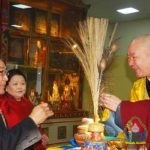 Natsagdorj.D, khamba lama met and greeted with the motherland citizens at the lunar year